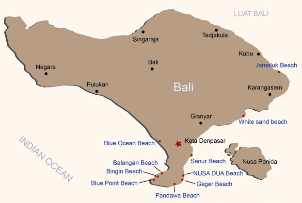 Beaches in Bali Map